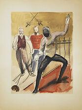 L'ESCRIME LITHOGRAPHIE POCHOIR ORIGINAL UZELAC 1932 LES JOIES DU SPORT 09
