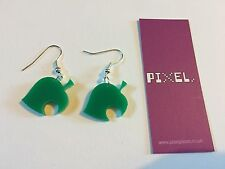 Animal Crossing Style Leaf Green Earrings Retro Gaming Video Games New 3DS