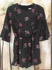 Speechless  Shorts Romper Girls Sz L (10-12)  Black Floral & Polka Dots Ruffles
