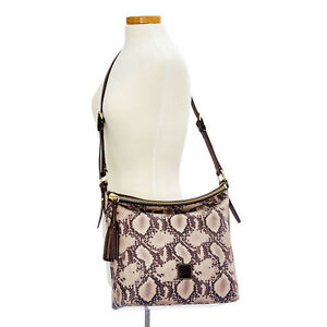 Dooney & Bourke crossbody Black brown Hobo leather Zip Top Python Dixon L New