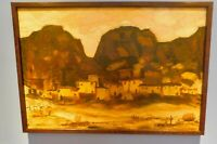 Large 1963 TAOS New Mexico Modern Cubist, Landscape O/B Painting signed & dated