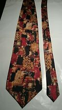 H C Studio Men's Vintage Tie in an Orange Gold and Black Abstract Pattern