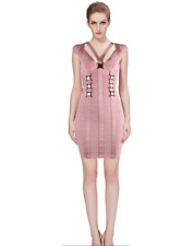 HERVE LEGER NEEM ROSE PINK BANDAGE BODY-CON DRESS sz S