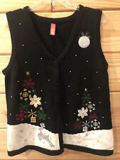 Ugly Christmas Sweater Vest Sz (8-10) Embroidered Reindeer Snowflakes Beads