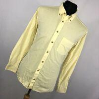 Charles Tyrwhitt L Large Shirt Light Yellow Button Down Front Collar Mens G3