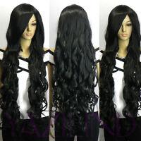 New Cosplay Super Long Dark Black Curly Wavy Full Hair Daily Wear Full Wig