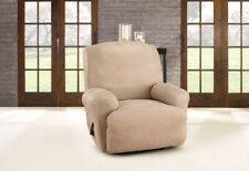 NEW Sure fit Stretch Rustic Birch faux Leather 1 Piece Recliner Slipcover