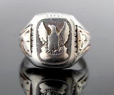 Antique Vtg Ostby Barton Sterling Silver & GF Eagle Ring sz 8.5
