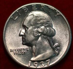 Uncirculated 1937 Phildelphia Mint Silver Washington Quarter