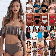 donna costume set bikini vita alta Tankini (TOP + slip) intero da bagno spiaggia