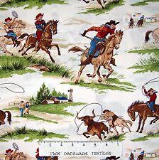 "Country Farm Fabric - Ride Em' Cowboy 2 Ranch Scene Beige - Robert Kaufman 21"""