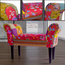 Design Patchwork Bench Multicoloured Retro Pads Seating Colourful with Armrests
