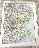 1891 Antique Map of England London Essex Norfolk Hertford Surrey 19th Century