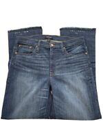 J Crew Billie Demi Boot Crop Jeans Sz 32T Tall Frayed Hem Mountain Lake Wash NWT