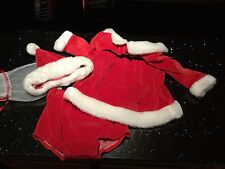 Adorable!Velvet Santa Christmas Dress W/Bloomers,Santa Hat 6-9M