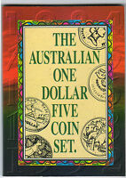 1984-92 RAM $1 UNC 5 Coin Set in Folder includes SCARCE Barcelona Coin