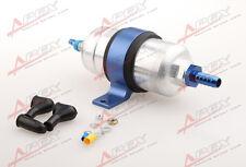 """External Fuel Pump 044 For Bosch+Billet Bracket Blue+1/2"""" Inlet 3/8"""" Outlet Barb"""