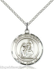 Bliss St Catherine of Siena Patron Saint Sterling Silver Medal Necklace w/Chain