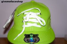 LACE LIME FLAT PEAK CAPS, FITTED HIP HOP HAT, BLING