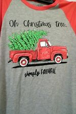 Womens Size S Simply Faithful Christmas Red Truck Tree Long Sleeved Top Shirt