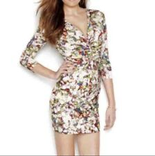 NEW GUESS Women's Printed Sexy Plunging V-Neck Bodycon Mini Dress Size: Medium