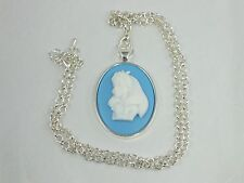 Cameo Necklace Victorian Alice in Wonderland Silver Rollo Chain Necklace Alice