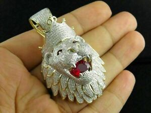 14k Yellow Gold Over 3 Ct Round Red Ruby & Sim Diamond Men's Lion King Pendant