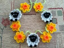"""Handmade Crochet Sheep & Daffodil Bunting """"Special order for shellie2902"""""""