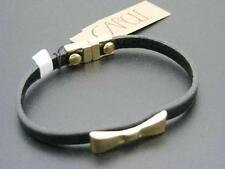 $14 Carole Inc BLACK Leather Bracelet Goldtone BOW Accent Magnetic Clasp Comfy