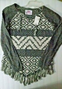 NEW Girls Justice Long Sleeve Sweater Sz 10 Gray White Tie Fringe Super Cute!