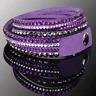Double Wrap Crystal Slake MultiStrap Purple Bracelet made with Swarovski Element
