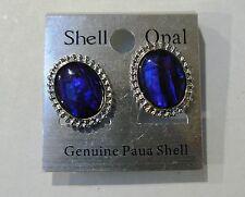 PAUA SHELL,OVAL CLIP EARRING,SILVER PLATE,