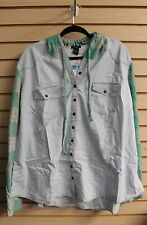 NEW WOMENS PLUS SIZE 3X GREEN CHAMBRAY BUFFALO PLAID HOODED SHIRT TOP HOODIE