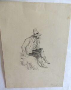 Porträt Italien Young man Tamburine Musik Neapel Bleistift pencil 1880