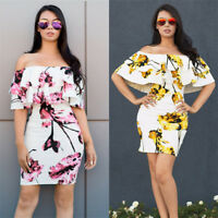 Women Off Shoulder Floral Print Ruffled Bodycon Cocktail Party Clubwear Dress