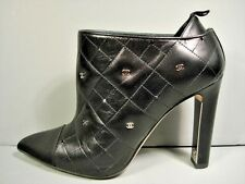"""CHANEL BLACK QUILTED """"CC"""" LEATHER POINT TOE PULL ON BOOTIE ANKLE BOOTS 37 NEW"""