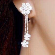 #E852A Non-pierced CLIP ON Clear Crystal Flower screw back Earrings Party 3.7cm