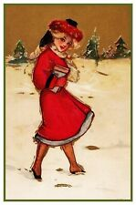 Christmas Scene # 804 Girl Dressed Holiday Outfit Counted Cross Stitch Pattern