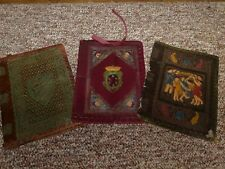 Vintage Italian Tooled Leather Book Cover  Embossing Brown + colors - lot of 3