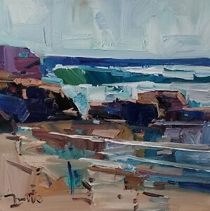 DJOSE TRUJILLO Oil Painting IMPRESSIONISM ORIGINAL SHORE WAVES SEASCAPE WATER NR