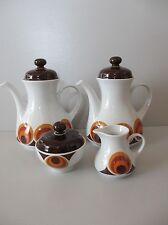 Winterling Marktleuthen 2x Kaffeekanne, Milchk. & Zuckerdose 70er braun orange