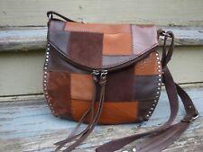 THE SAK Silverlake Brown Leather Suede Crossbody Handbag Hippie Bobo Fringe Hobo