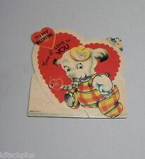 Vtg Valentine Card 30's White Elephant Dressed Plaid Overalls Tons of  Love