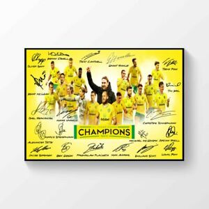 Norwich City Champions 2020-2021 Signed Printed  A4 Poster CHAMPIONSHIP WINNERS