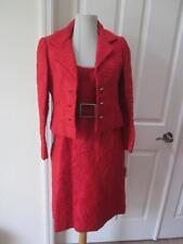 Vtg 60's Kiki Hart Red Textured Dress & Jacket w/ Rhinestone Buttons