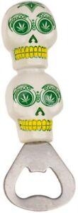 Flaschenöffner Kapselheber Bottle Opener Flaschen-Öffner Cannabis Totenkopf weiß