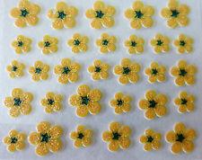 Nail art Stickers autocollants bijoux d'ongles: Fleurs pailletées - Jaune orangé