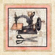 "Antique ""Sewing Machine 4"" Art Print Signed by Dan Morris, Wall Art, 12""x12"""