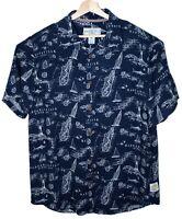 Margaritaville Mens Hawaiian Short Sleeve Button Front Shirt Large Navy Blue