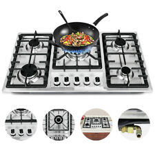 """New 33.8"""" Stainless Steel Cooktop Built-in Stove Natural Gas Cooker 5 Burners"""